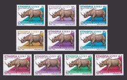 ETHIOPIA ETHIOPIE 2005 - RHINOCEROS RHENOCEROS RINOCEROS RENOCEROS - FULL SET -  MNH ** - VERY RARE - Rinocerontes