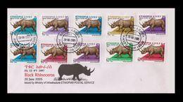 ETHIOPIA ETHIOPIE 2005 - RHINOCEROS RHENOCEROS RINOCEROS RENOCEROS - FULL SET -  FDC - VERY RARE - Rhinozerosse