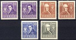 SCHWEDEN 272-75A/B **, 1939, 200 Jahre Akademie Der Wissenschaften, Zweiseitig Und Vierseitig Gezähnt, Prachtsatz (6 Wer - Schweden