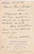 Carte Commerciale 1886 / Entier / DUPHOT & SARDOU / 17 Pons Près Cognac - Cartes
