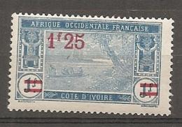 COTE IVOIRE - Yv. N°  76  *  1f25 S 1f   Lagune  Cote 1,4 Euro  BE 2 Scans - Côte-d'Ivoire (1892-1944)
