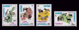 ETHIOPIA ETHIOPIE 1999 - FAUNA WILDLIFE NATIONAL PARKS -  LIONS ELEPHANTS Michel Mi. Mi 1641 / 1644 MNH ** - VERY RARE - Ethiopie
