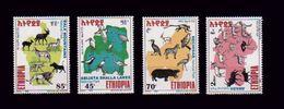 ETHIOPIA ETHIOPIE 1999 - FAUNA WILDLIFE NATIONAL PARKS -  LIONS APES BIRDS Michel Mi. Mi 1633 / 1636 MNH ** - VERY RARE - Ethiopie
