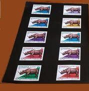 ETHIOPIA ETHIOPIE 2005 - PROOF EPREUVE - FAUNA RHINOCEROS RHENOCEROS RINOCEROS RENOCEROS - VERY RARE - Rinocerontes