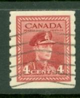 Canada: 1942/48   KGVI - Coil  SG393    4c     [Imperf X Perf: 8]    Used - 1937-1952 Règne De George VI