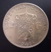 CURACAO 2-1/2 GULDEN 1944 SILVER Free Shipping Via Registered Air Mail - Curacao