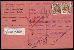 """CARTE RECEPISSE - OBL. A POINTS CALLENELLE SUR HOUYOUX 203 Vers KNOCKE - """" Se Présentera Au Bureau """" TAX AU VERSO - 1922-1927 Houyoux"""