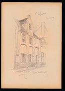 GENT = 1900 LITHOGRAPHIE VAN ARMAND HEINS 25 X 18 CM - RUE WELLINCK - Gent