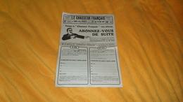 PUBLICITE  ANCIENNE DATE ?. / LE CHASSEUR FRANCAIS ORGANE UNIVERSEL SAINT ETIENNE. FEUILLE ABONNEMENT 1 AN 3 ANS - Publicités