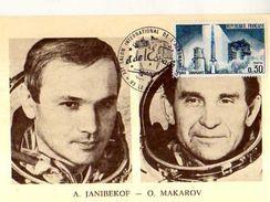 Carte 1° Jour,obliteration, Timbre, Soyouz 27 Alexandrovich Janibekov Oleg G Makarov - FDC