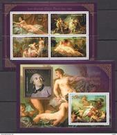 J764 2013 BENIN PRIVATE ISSUE EROTIC ART GOLD JEAN-BAPTISTE MARIE PIERRE 1KB+1BL MNH - Art