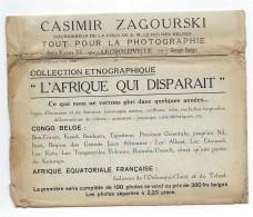 Enveloppe De La Premiere Serie Pour Photo Zagourski L'Afrique Qui Disparait - Congo Belge - Autres