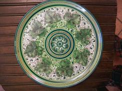 PIATTO IN CERAMICA Del  1920 Foglie Verdi - Ceramics & Pottery