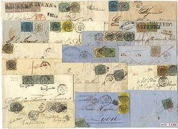 * Pontificio - Circa 70 Lettere: 2 Non Affr. E 2 Con Franc. Del Regno Di Sardegna, Tutte Le Altre Affr. Con Bolli Pontif - Stamps