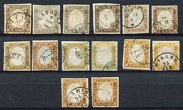 ¤ Sardegna - IV Em. 10 C. - 14 Francobolli Di Tinte Diverse Classificate E Firmate Da Bottacchi (14Cea, Cd, Cg, Ce, Co,  - Stamps