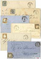 *y Sicilia - Annulli Su Sardegna E Regno - 50 Lettere + 2 Grandi Frammenti Con Ann. Anche Di Buon Punteggio Con Poche Ri - Stamps