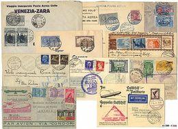 * Area Italiana - 78 Lett./cart. Con Varietà Di Affr. Tra Cui Alcuni Primi Voli E Zeppelin. - Stamps