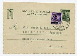 + Biglietto Postale 25 C. Mon. Distrutti Usato Come Supporto Da Trieste 14.6.45 Per Città Con 1 L./50 C. Occ. Jugoslavia - Stamps
