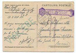 """+ Cartolina Doppia """"Mare Nostrum"""" Resa In Franchigia Con Bollo Viola In Gomma Ann. Con Bollo Direzione Postale Intendenz - Stamps"""