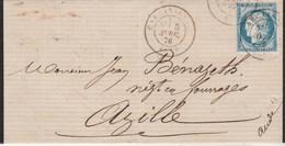 Yvert 60C Cérès Lettre Oblitération Cachet à Date CARCASSONNE Aude 5/4/1876 Pour Azille - Postmark Collection (Covers)