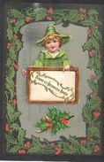 JOLIE CPA FANTAISIE CELLULOID AJOUTIS DECOUPIS CHROMO Enfant Chapeau Costume Houx Art Nouveau Déco Bonne Année -#590 - Fantaisies