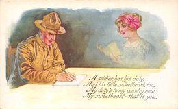 CPA Fantaisie - Dream Of A Soldier - Pensées D'un Soldat - Memories Souvenirs Love Amour Patriotic - Illustration - Hommes