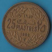 LIBAN 25 PIASTRES 1952 KM# 16 Cèdre Du Liban - Lebanon