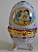 Vintage Porcelain Eggs Porzellan Ei Pralinen,Faberge Style Jewelry Box , Deckeldose Oeuf En Porcelaine, De Collection - Eggs