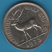 MAURITIUS HALF 1/2 RUPEE 1975 KM# 37 CERF Stag (Swamp Deer) ANIMAL - Mauritius