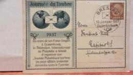 DR 33-45: Sonder-Gs-Karte Mit 3 Pf Hbg Tag Der Briefmarke 1937 SoSt. PRESLAU Vom 10.1.37 -Karte Mit Bug -Knr: PP 122 C31 - Briefe U. Dokumente