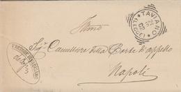Taviano. 1902. Annullo Tondo Riquadrato TAVIANO (LECCE) + Ovale PRETORE + Testo,  Su Lettera In Franchigia - Marcophilie