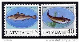 LATVIA 2002  Fish  Set Of 2 MNH / **.  Michel 574-75 - Latvia