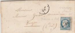 Yvert 60A Piquage à Cheval Cérès LettreLEVROUX GC 2023 Indre 7/2/1872 Verso Bureau Passe 4201 Vierzon - Marcophilie (Lettres)