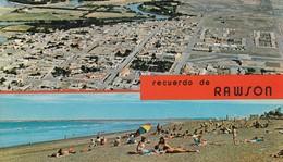 RECUERDO DE RAWSON, CHUBUT. VISTA AEREA PANORAMICA Y PLAYA UNION. ED FOTO LIZ COLOR, MACCHI. ARGENTINE -BLEUP - Argentina