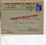 10- ROMILLY SUR SEINE- RARE ENVELOPPE P. FOISEL-HOTEL RESTAURANT DU CHEMIN DE FER - GARAGE- 1938 - Old Professions