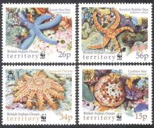 BIOT 2001 Endangered Sea Stars Set Of 4 MNH With WWF Panda Logo - Unused Stamps