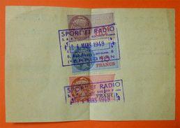 1949 Reçu Sport Radio à Perpignan 3 Timbres Fiscaux Tricolores 12.5x8cms Franco Port Europe Prioritaire Simple.. - Fiscaux