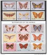 Nevis 1997. Michel #1092/106+Bl. #124/25 MNH/Luxe. Butterflies (B25) - Schmetterlinge