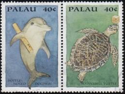 PALAU - Scott #335e-335f Dolphin And Turtle / Used Stamp - Palau