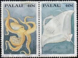 PALAU - Scott #335g-335h Octopus And Manta Ray / Used Stamp - Palau