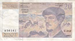 BILLETE DE FRANCIA DE 20 FRANCS DEL AÑO 1993 SERIE U.042   (BANKNOTE) CLAUDE DEBUSSY - 20 F 1980-1997 ''Debussy''