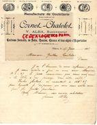 63- THIERS- RARE LETTRE MANUSCRITE SIGNEE V. ALBA- CORNET CHATELET-MANUFACTURE COUTELLERIE- RUE BARTASSE-COUTEAUX-1895 - France