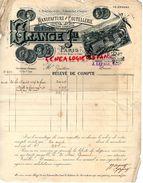 75- PARIS- RARE FACTURE GRANGE -USINE A THIERS ET NOGENT 52- MANUFACTURE COUTELLERIE COUTEAUX-J. LEPAGE-1895 - France