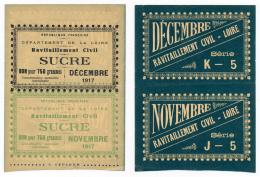 1917 // Département De La LOIRE // Ravitaillement Civil //  2 Bons Pour 750g De Sucre - Bons & Nécessité