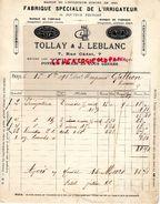 75-PARIS-RARE FACTURE TOLLAY & J. LEBLANC-FABRIQUE SPECIALE L' IRRIGATEUR DOCTEUR EGUISIER-CUIVRE ETAIN-7 RUE CADET-1898 - France