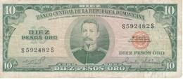 BILLETE DE REP. DOMINICANA DE 10 PESOS ORO DE LOS AÑOS 70  (BANKNOTE) - República Dominicana