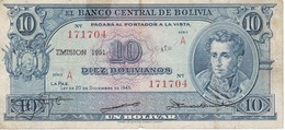 BILLETE DE BOLIVIA DE 10 BOLIVIANOS DEL AÑO 1951 (BANKNOTE) - Bolivia
