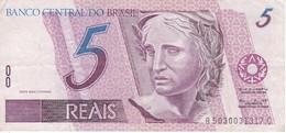 BILLETE DE BRASIL DE 5 REAIS DEL AÑO 1997 DE  UNA GARZA BLANCA -BIRD-PAJARO     (BANKNOTE) - Brasil