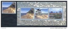LATVIA 2001 Baltic Coastal Landscape Stamp And Block MNH / **.  Michel 551, Block 15 - Latvia