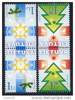 LITHUANIA 2002 Christmas Set Of 2 Tete-beche Pairs MNH / **.  Michel 804-05 - Lithuania
